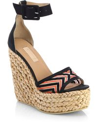 L'Agence Embroidered Mesh Espadrille Wedge Sandals - Lyst