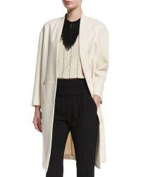 Brunello Cucinelli - Collarless Textured Cotton Overcoat - Lyst
