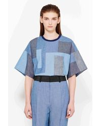 3.1 Phillip Lim Denim Patchwork Cropped Boxy T-Shirt - Lyst