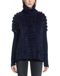 Patrizia Pepe Poncho Coat with High Collar in Knitted Wool and Real Rabbit Fur - Lyst