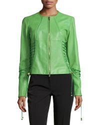 Versace Lace-Detail Leather Jacket green - Lyst
