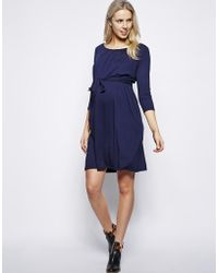 Asos Maternity Exclusive Kate Dress With Belt And Scoop Neck With 3/4 Sleeve - Lyst