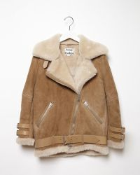 Acne Studios Velocite Oversized Shearling Jacket brown - Lyst