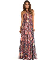 Issa Printed Maxi Halter Dress - Lyst
