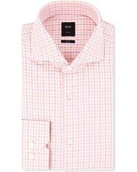 Hugo Boss Christo Slimfit Singlecuff Shirt Pink - Lyst