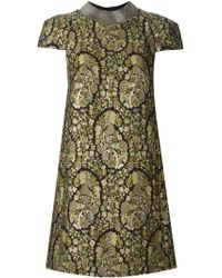 Saint Laurent Floral Embroidered Shift Dress - Lyst