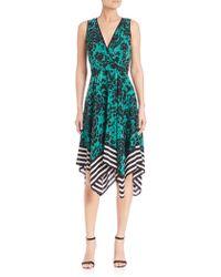 Shoshanna | Emmy Floral & Stripe Silk Dress | Lyst
