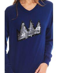 Markus Lupfer Crown Sequin Sweater - Lyst