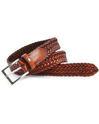Tommy Hilfiger Almerico Cognac Braided Leather Belt - Lyst