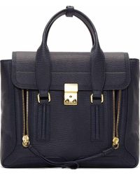 3.1 Phillip Lim Ink Blue Grained Leather Pashli Medium Satchel - Lyst