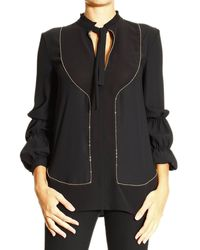 Roberto Cavalli - Just Cavalli Top Long Sleeve with Gold Piping Details - Lyst