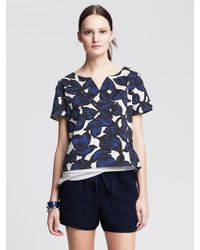 Banana Republic Floral Sateen Cropped Top - Lyst