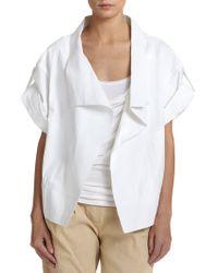 Donna Karan New York Short-Sleeve Open-Front Jacket - Lyst