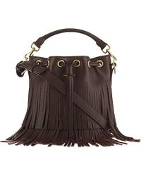 Saint Laurent - Emmanuelle Small Fringed Leather Bucket Bag - Lyst