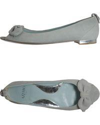 Azzaro Peep-toe Ballet Flats - Lyst