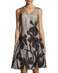 Halston Heritage Floral-embroidered Fit-and-flare Dress - Lyst