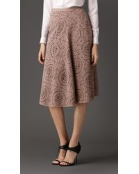 Burberry Lace Suede Skirt - Lyst