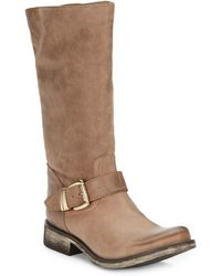 Steve Madden Fabiana Leather Tall Bootsstone - Lyst