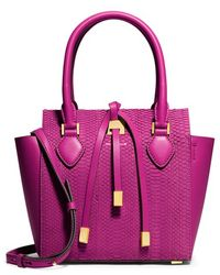 Michael Kors Women'S 'Extra Small Miranda' Snake Embossed Leather Tote - Pink - Lyst