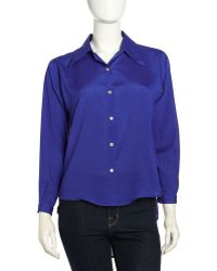 Naven Long-Sleeve Contrast-Button Blouse - Lyst