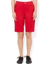Lauren by Ralph Lauren Zip-pocket Twill Shorts - Lyst