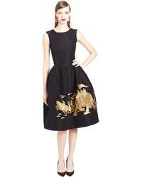 Oscar de la Renta Elephant Embroidered Silk Faille Cocktail Dress - Lyst
