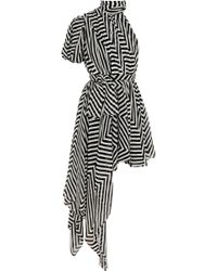 Saint Laurent Draped Striped Silkgeorgette Mini Dress - Lyst