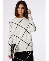 Missguided Grid Check Knitted Jumper Cream - Lyst