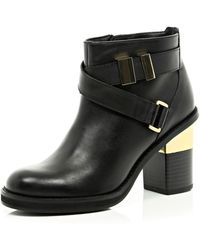 River Island Black Leather Cross Strap Block Heel Boots - Lyst