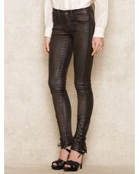Ralph Lauren Blue Label Stretch Leather Skinny Pant - Lyst