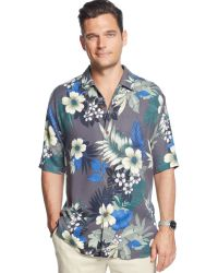 Tommy Bahama Big And Tall Short-Sleeve Floral Silk Shirt - Lyst