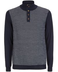 Aquascutum Tristan Button Sweater blue - Lyst