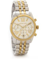 Michael Kors Two Tone Lexington Watch - Silvergold - Lyst
