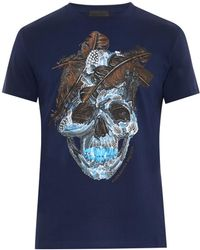 Alexander McQueen Feather Skull Print T-Shirt blue - Lyst