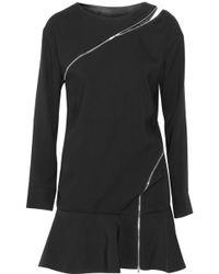 Jay Ahr Zipdetailed Crepe Mini Dress - Lyst