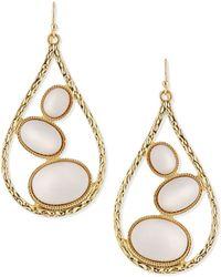 R.j. Graziano - Teardrop Earrings With White Cabochons - Lyst