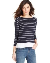 Tommy Hilfiger Striped Layered-Look Sweater - Lyst
