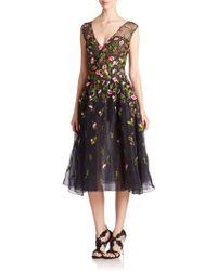 Oscar de la Renta Embroidered Silk Organza Dress - Lyst