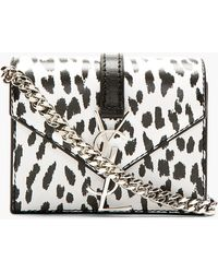 Saint Laurent White and Black Candy Toy Babycat Satchel - Lyst