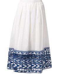 Sea Long Embroidered Skirt - Lyst