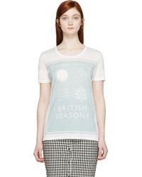 Burberry Prorsum Off_White Book Cover T_Shirt - Lyst