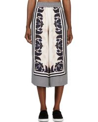 Mother Of Pearl Navy Mirrored Print Minos Culottes - Lyst