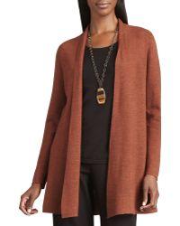Eileen Fisher Long Wool Cardigan - Lyst