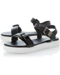 Dune Black Laurie Leather Flat Chunky Rubber Sole Sandals - Lyst