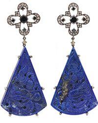 Bochic - Carved Lapis Diamond Earrings - Lyst