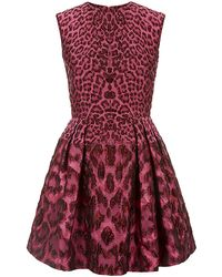 Alexander McQueen Leopard Jacquard Full Skirt Dress - Lyst