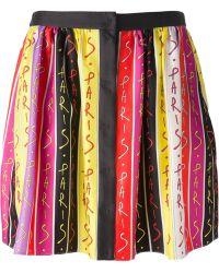 Emanuel Ungaro Paris Print Pleated Skirt - Lyst