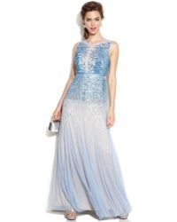 Adrianna Papell Sleeveless Beaded Illusion Gown - Lyst