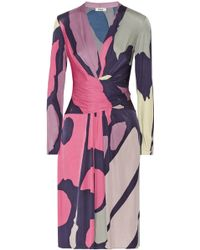 Issa Wrap-Effect Silk-Jersey Dress - Lyst