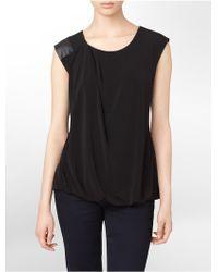 Calvin Klein White Label Faux Leather Trim Sleeveless Top - Lyst